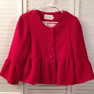 Maestro S Lined RED Cropped Peplum Jacket